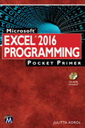 Microsoft Excel 2016 Programming Pocket Primer Book Cover